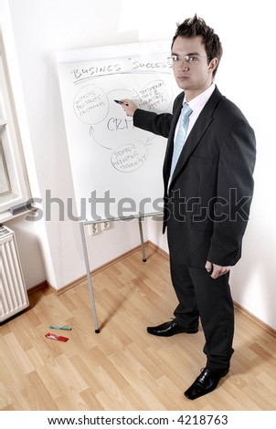 Handsome young businessman giving presentation at flipchart in office.