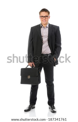 Handsome young businessman. Isolated on a white background - stock photo