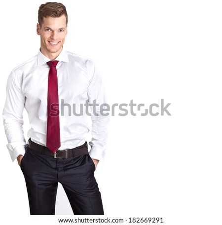 Handsome young businessman - isolated on white and much copyspace - stock photo