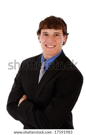 Handsome Young Businessman Portrait on Isolated White