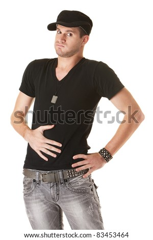 Handsome young Caucasian man holds his stomach over white background - stock photo