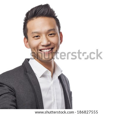 handsome young chinese face - stock photo