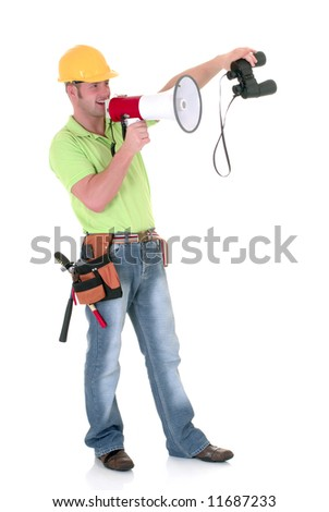 Handsome young construction supervisor, inspector giving orders with megaphone and binoculars, white background