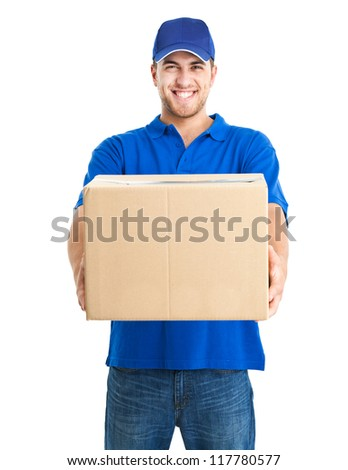 handsome young delivery man portrait isolated stock photo edit now