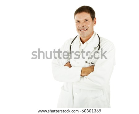 Handsome young doctor in his labcoat.  Isolated with copyspace. - stock photo