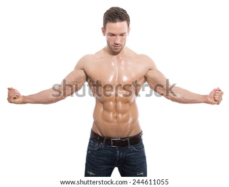handsome young fit bodybuilder isolated on white - stock photo