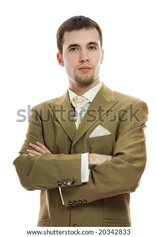 Handsome young groom in wedding suit over white background - stock photo