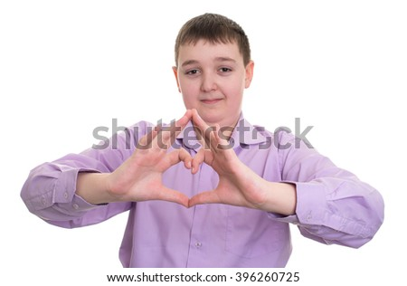 handsome young guy showing the heart sign with his handsisolated - stock photo