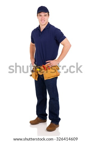 handsome young male builder on white - stock photo