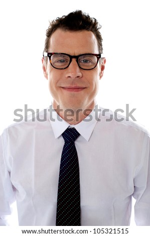 Handsome young male business executive wearing glasses isolated against white background - stock photo