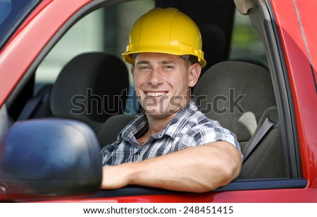 Handsome Young Male Construction Worker - stock photo