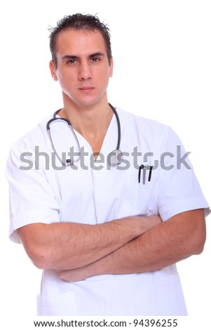 Handsome young male doctor isolated over white background