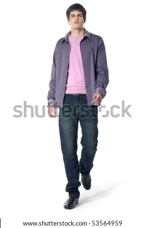 handsome young male model posing in studio - stock photo