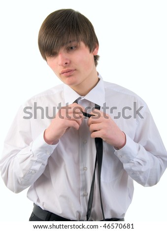 Handsome Young Man And Necktie. Studio Shoot Over White Background.