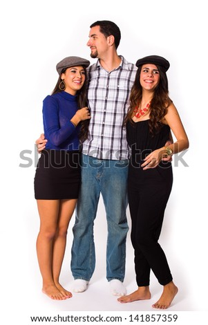 Handsome young man and pretty young women on a white background. - stock photo