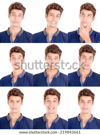 handsome young man doing facial expressions isolated in white