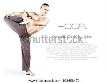Handsome young man doing yoga pose over white background - stock photo