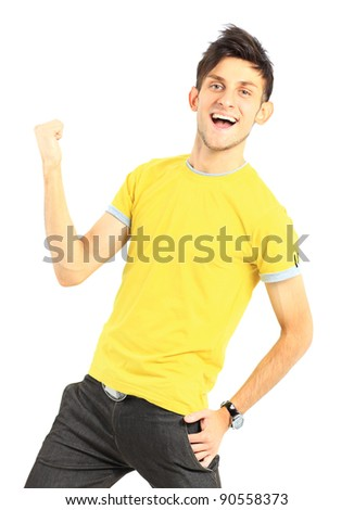 Handsome young man expressing positivity isolated on white