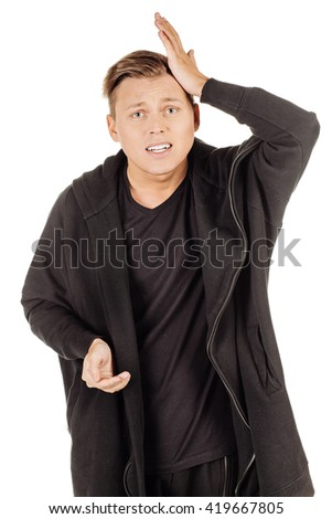 handsome young man forgot something - stock photo