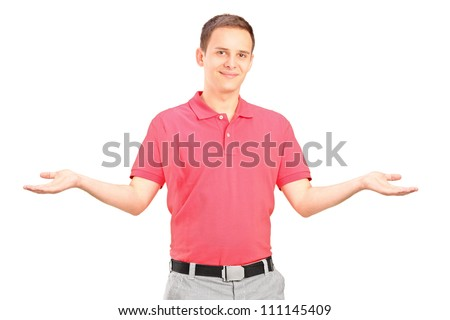 Handsome young man gesturing with his arms isolated on white background