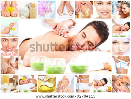 Handsome young man getting spa massage. Body care college. - stock photo