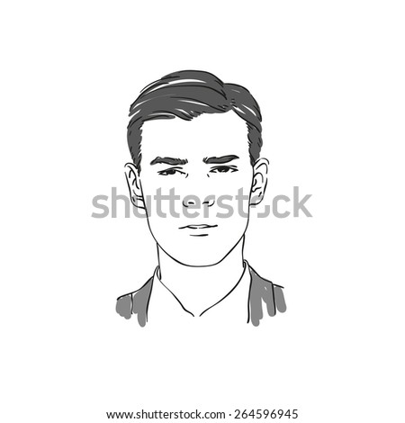 Handsome young man hand drawn illustration. Rasterized copy. - stock photo