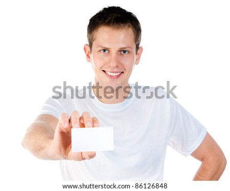 handsome young man holding small white blank