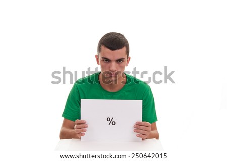 Handsome young man holding white frame with percentage symbol - stock photo