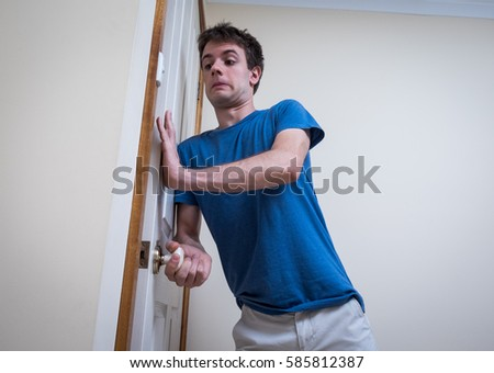 Handsome Young Man Hurriedly Shutting Door Stock Photo 585812387 - Shutterstock  sc 1 st  Shutterstock & Handsome Young Man Hurriedly Shutting Door Stock Photo 585812387 ...