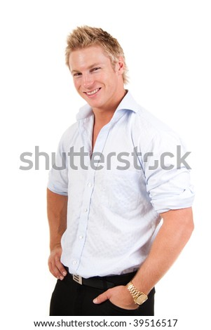 handsome young man in a blue collared shirt