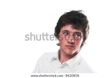 Handsome young man in white shirt (studio)