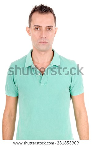 handsome young man isolated in white background - stock photo