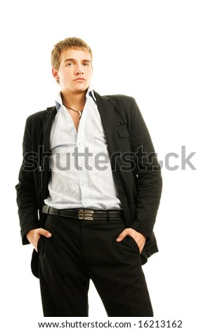 Handsome young man isolated on white background