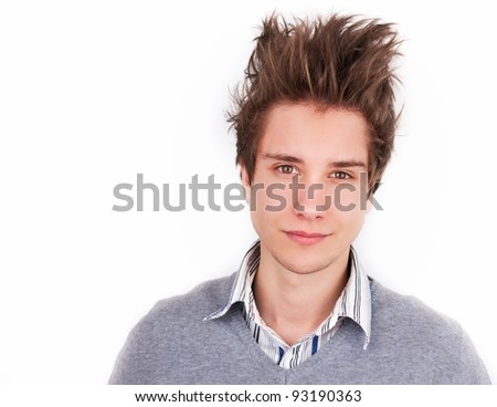 Handsome young man isolated over white - stock photo