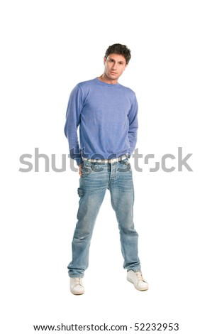 Handsome young man looking at camera isolated on white background