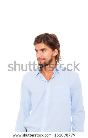 Handsome young man looking side to empty copy space, businessman wear blue shirt isolated over white background