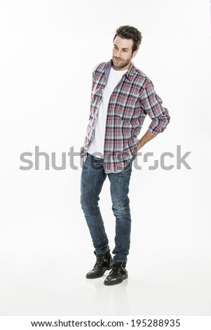 handsome young man on isolated background