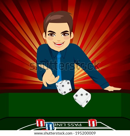 Handsome young man playing craps throwing dice on casino - stock photo