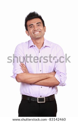 Handsome young man portrait isolated on white background - stock photo