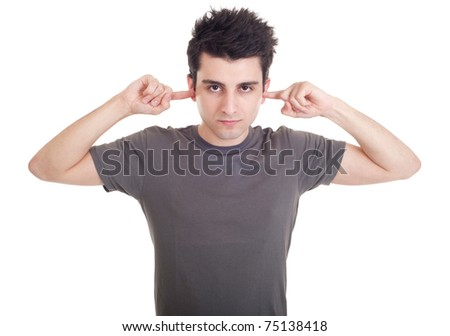 handsome young man portrait with fingers in ear not listening expression (isolated on white background)