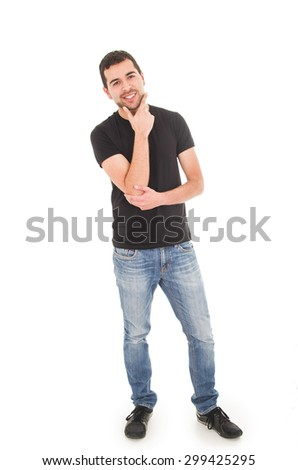 handsome young man posing holding chin isolated on white - stock photo