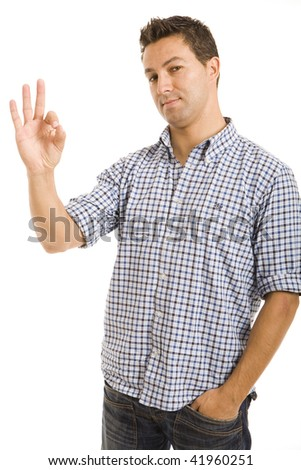 Handsome young man showing ok gesture. Isolated on white background - stock photo