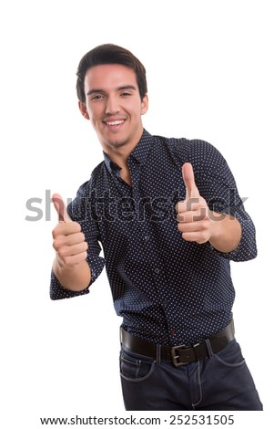 Handsome young man signaling ok, isolated over a white background