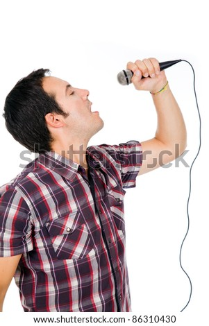 handsome young man singing on white background