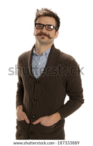 Handsome young man strikes a confident pose isolated on white - stock photo