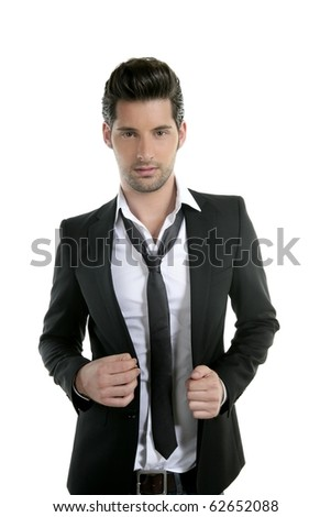 Handsome young man suit casual tie suit isolated on white