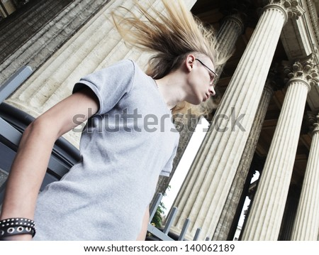 Handsome young man wearing casual  standing outdoors - stock photo