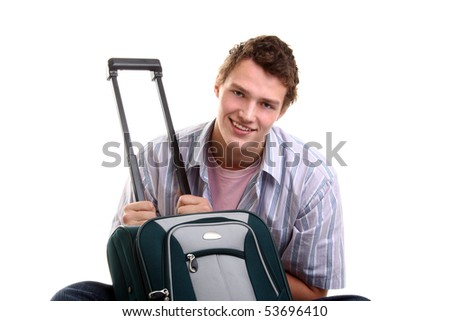 handsome young man with a suitcase - stock photo