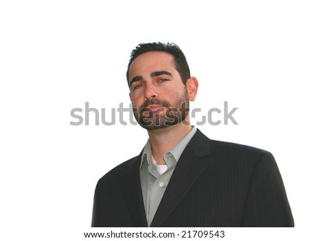 Handsome Young Man With Beard Isolated On White - stock photo