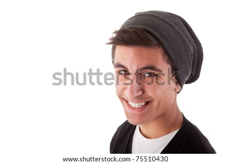 Handsome young man with happy face. Isolated on white background, studio shot. - stock photo